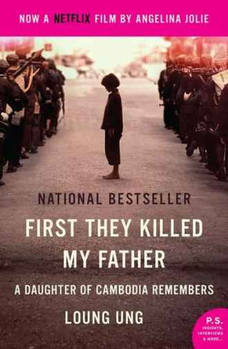 Book cover of First They Killed My Father depicting a figure of a girl surrounded by soldiers.