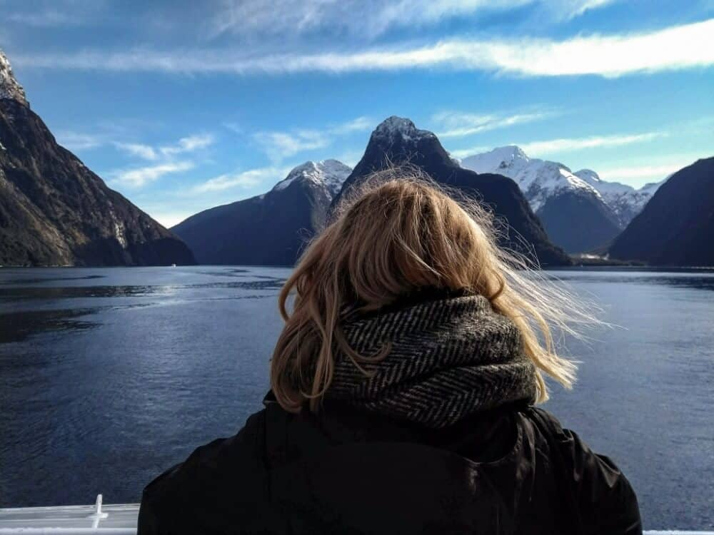 Back of my head with mountains behind