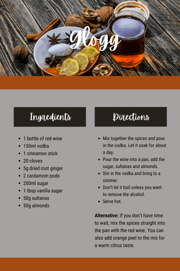 Glogg is a Scandinavian cocktail like mulled wine