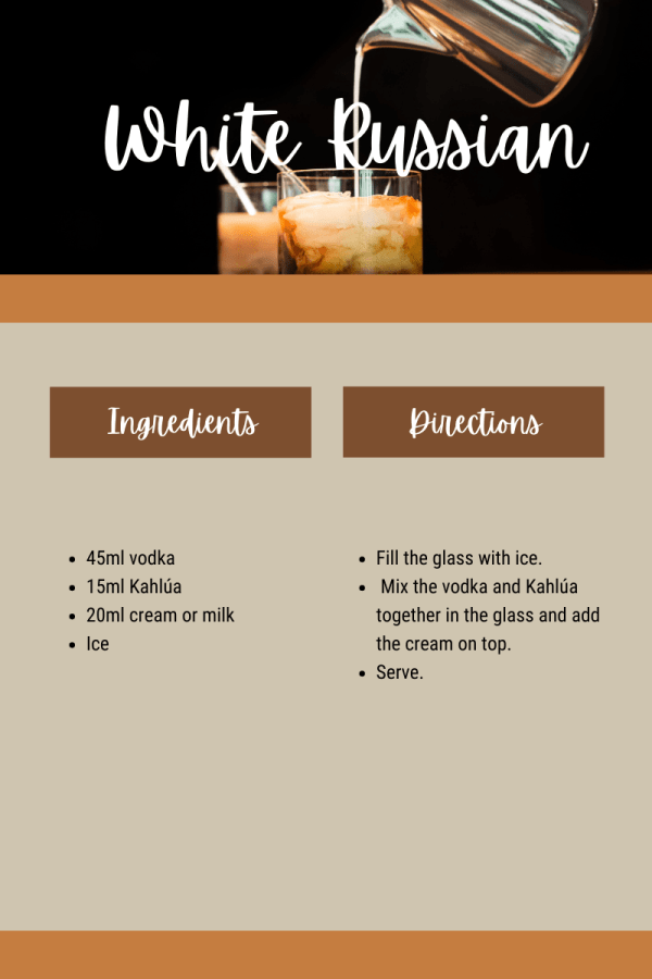White Russian recipe card with sustainable spirits