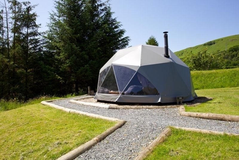 Exterior of the geodeisc dome - a unique getaway in Scotland for glampers.