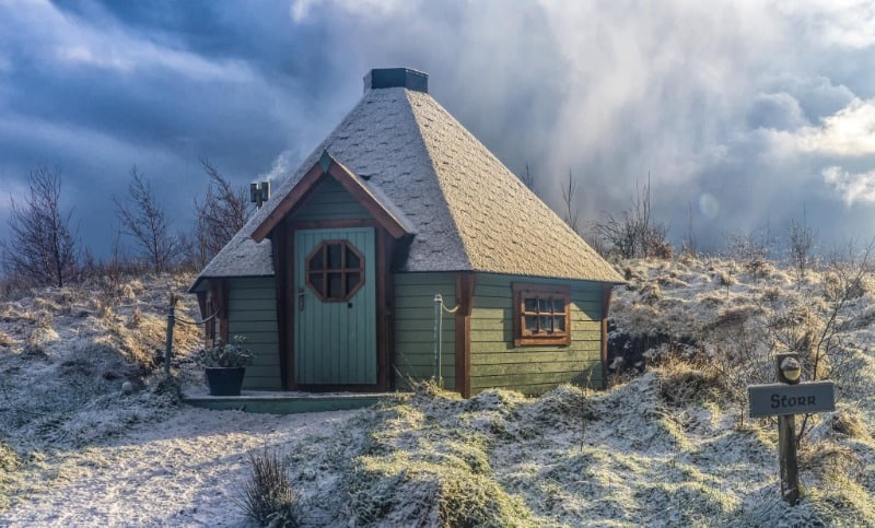 Skye Eco Bells cabin on a wintery day on Skye. One of the best secluded places to stay in the UK.