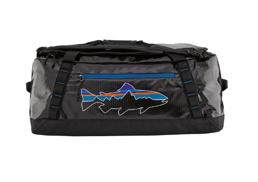 Patagonia Black Hole duffel bag with a fish pattern on it.