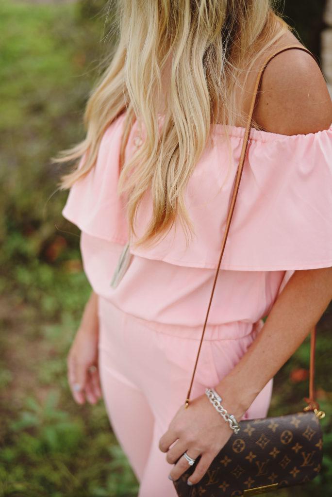 pink ruffle jumpsuit romwe