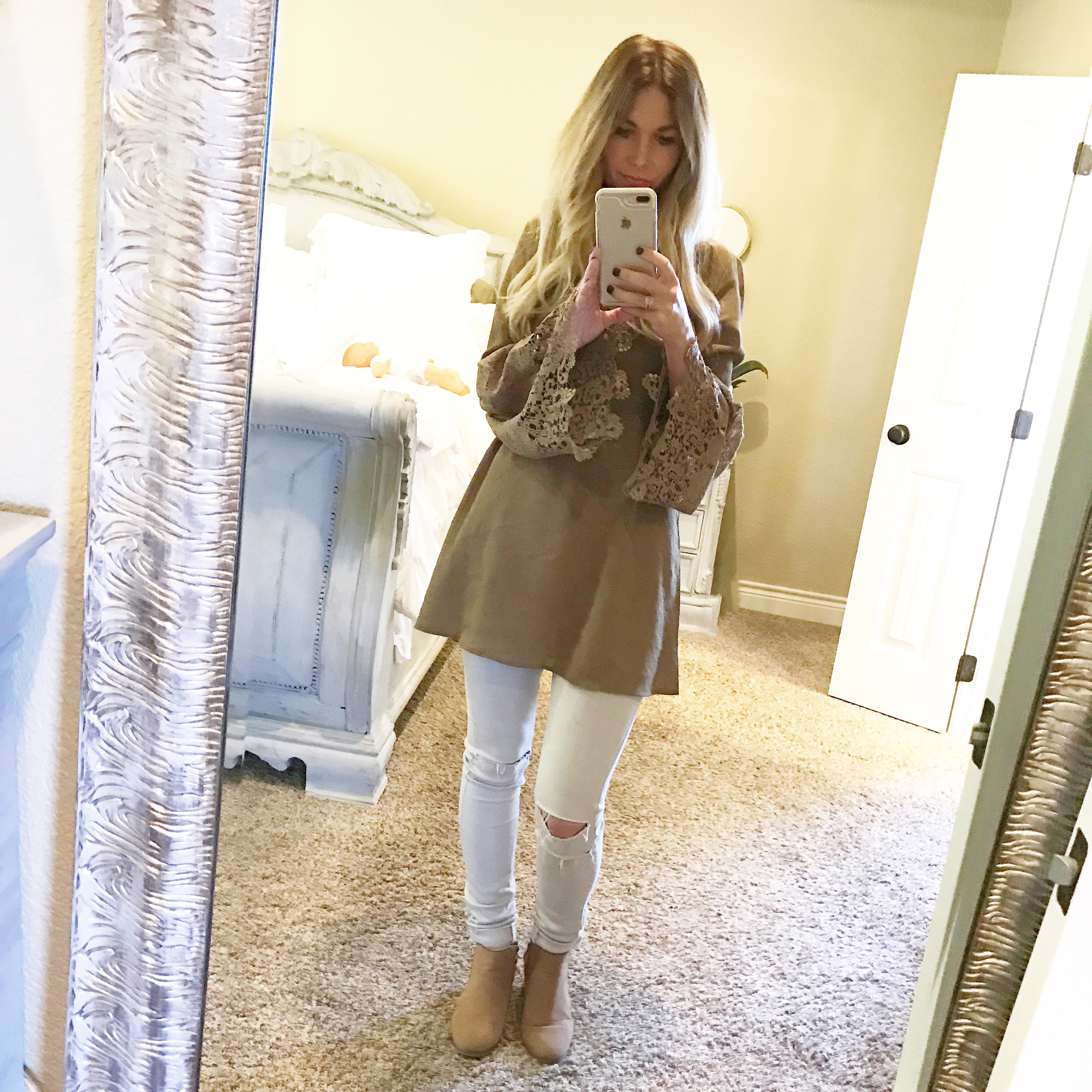 fall fashion olive tunic with distressed grey leggings and booties