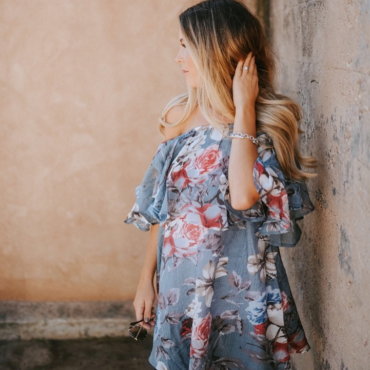 fall floral off the shoulder top