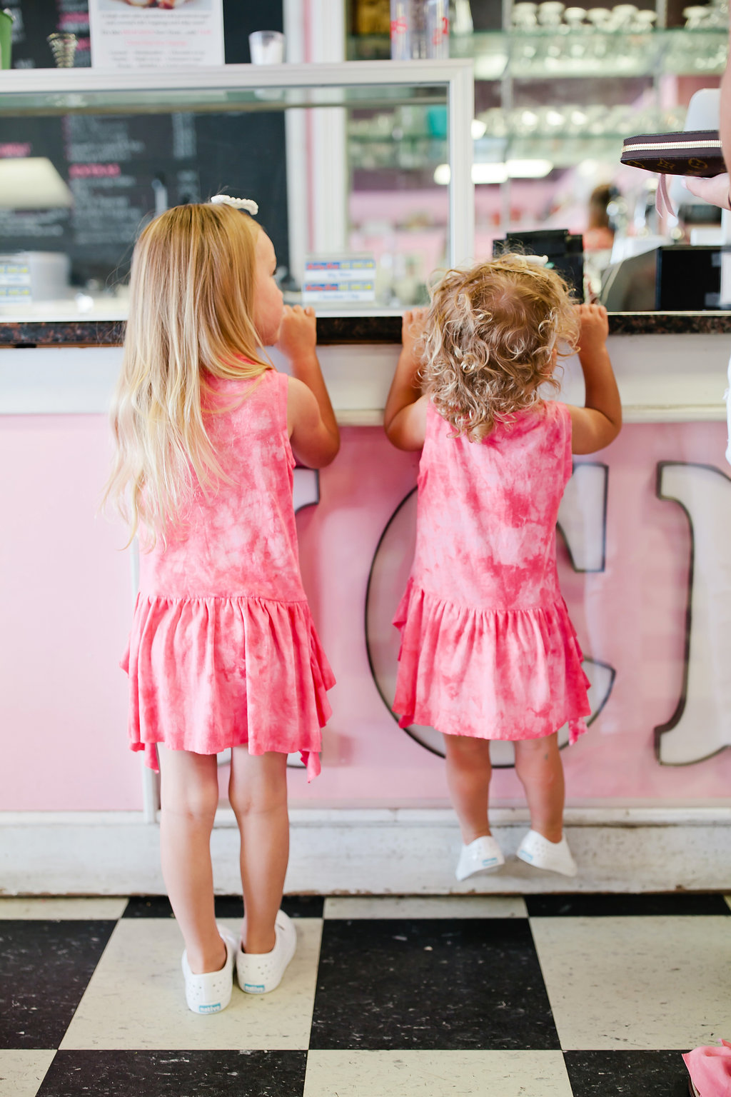 pink dresses matching sisters