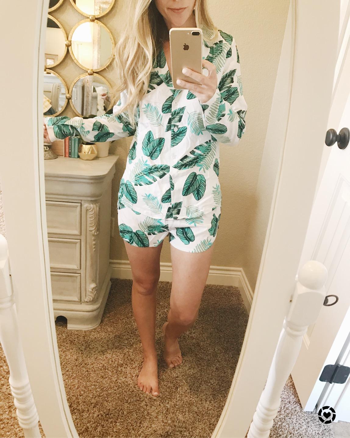 palm print pajama set perfect for a trip