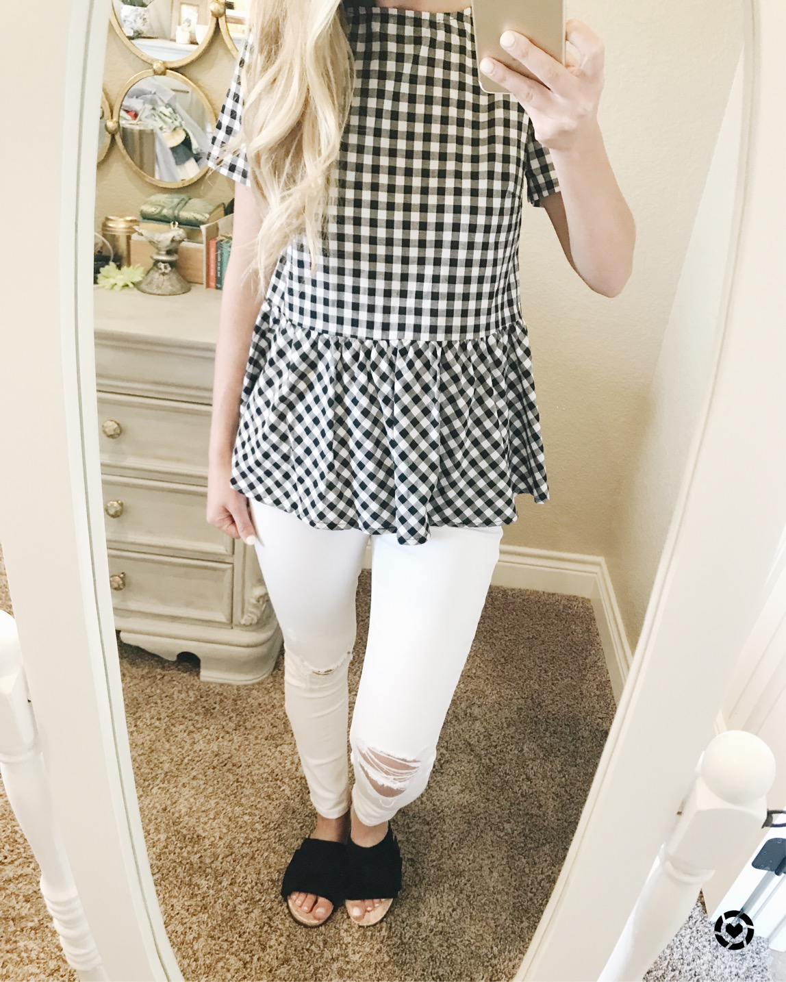 gingham tie back top SHEIN
