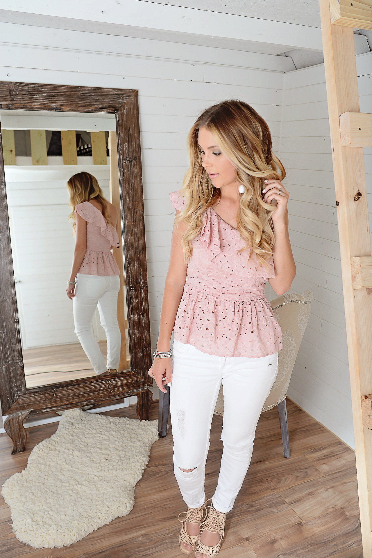 pink peplum one shoulder top