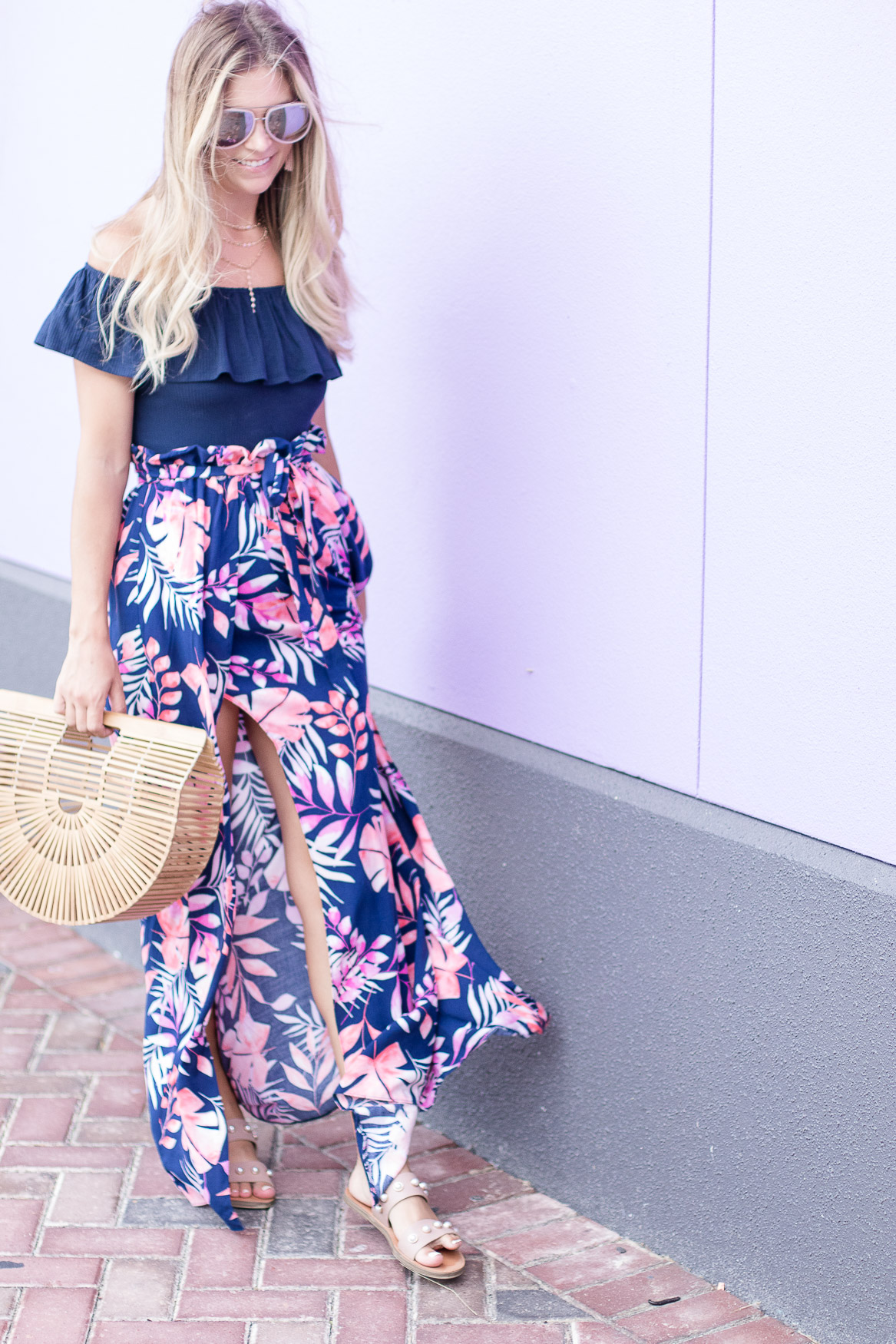 Floral Asos Skirt with body suit and bamboo bag in St. Thomas