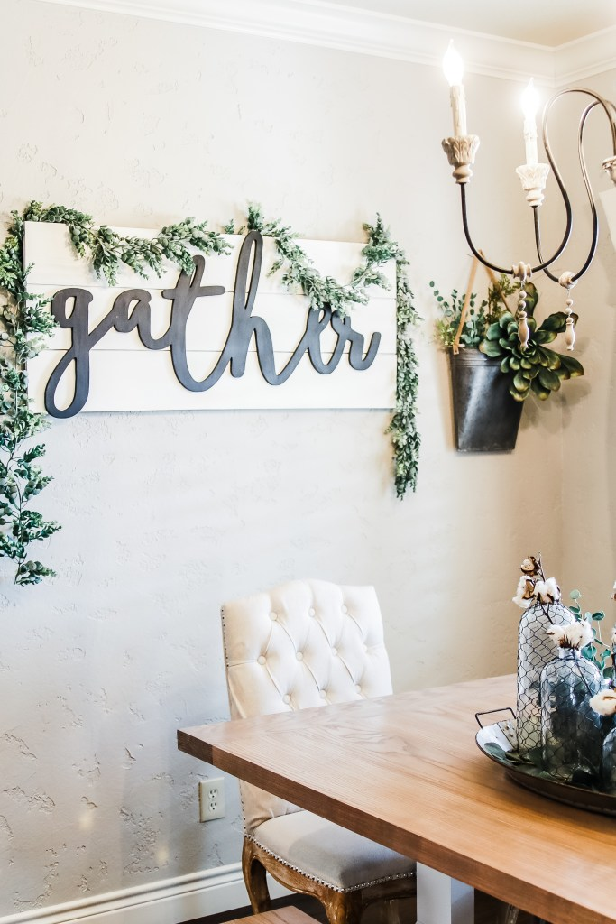 gather sign Farmhouse Style Light & Airy Kitchen Makeover Breakfast Nook Dining Area
