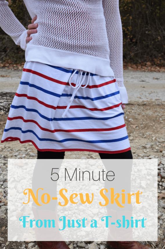 5 Minute No Sew Diy T Shirt Skirt Little Mager House