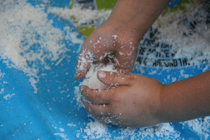 Messy play with soap flakes
