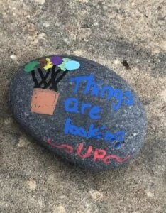 Things are looking up- Rock Painting littlemissblog.com