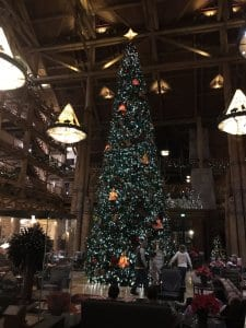 Christmas Tree in the lobby of the Wilderness Resort at WDW