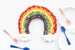 Rainbow Fruit Tart perfect for St. Patricks Day! littlemissblog.com