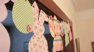 Adorable, Easy Bunny Banner for Easter. Cheap but Chic Decorations littlemissblog.com