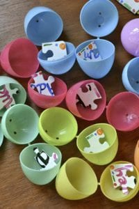 Easter Egg Puzzle. Hide puzzle pieces in the eggs and then have the kids work together to put the puzzle together!