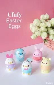 Ufufy Easter Eggs. Make some adorable Disney Inspired easter eggs! littlemissblog.com