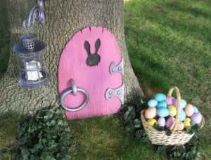 Easter Bunny Door adorable idea for the Easter Bunny's access to your yard! littlemissblog.com