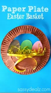 Paper plate Easter Basket. Easy, fun crafts to do with kids littlemissblog.com