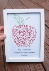 Teacher Appreciation Gift. Apple with class name. Easy gifts littlemissblog.com