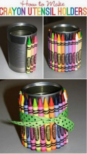Crayon Pencil Holder using can. Easy Homemade Teacher Gifts That Are Useful littlemissblog.com