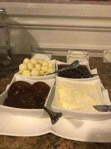 Butter, jam, jelly, cream cheese