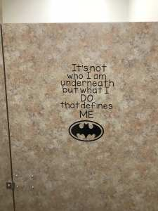 Vinyl Batman Quote in Bathroom