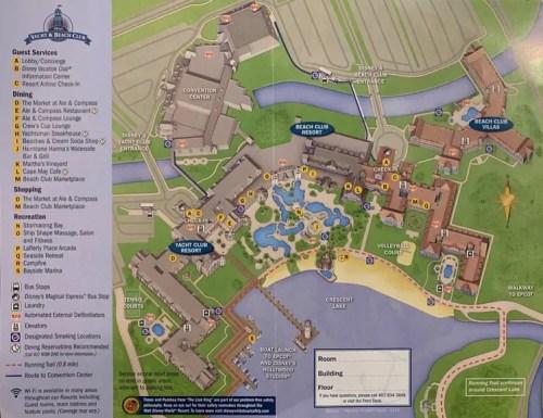 Map of Disneys Beach Club and Yacht Club Resorts at Walt Disney World Florida