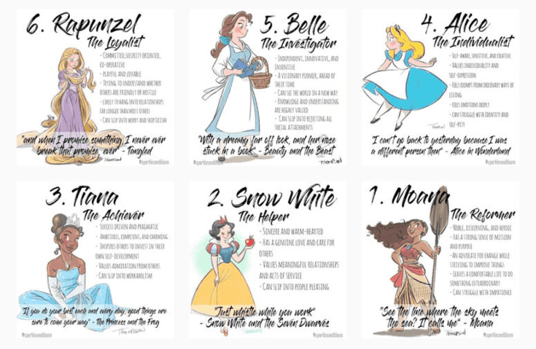 Disney Princess Enneagram Types