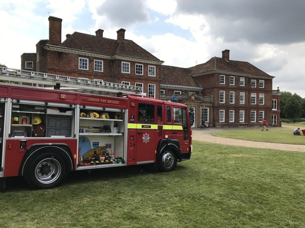 Lullingstone Castle house with fire engine