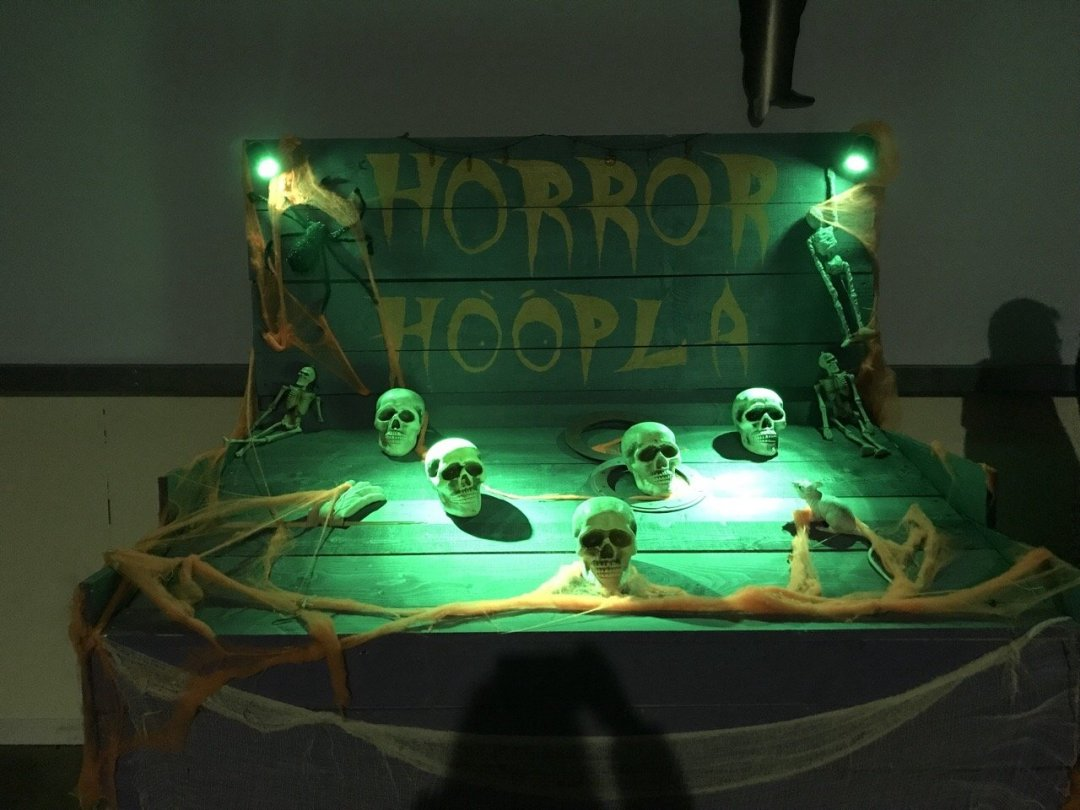Halloween Hoopla with skull heads Spooky Nights at Barleylands