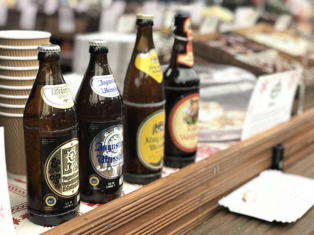 Christmas German Market in Essex - German beer bottle lined up