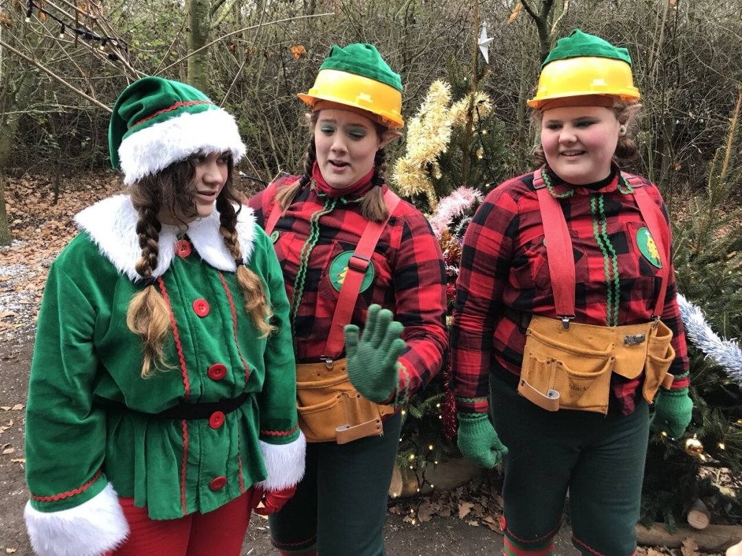 The lumberjack elves and Brumble elf An Elf's Wish at Nevendon Manor