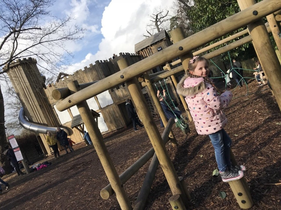Eden playing at the Adventure Playground at Hever Castle