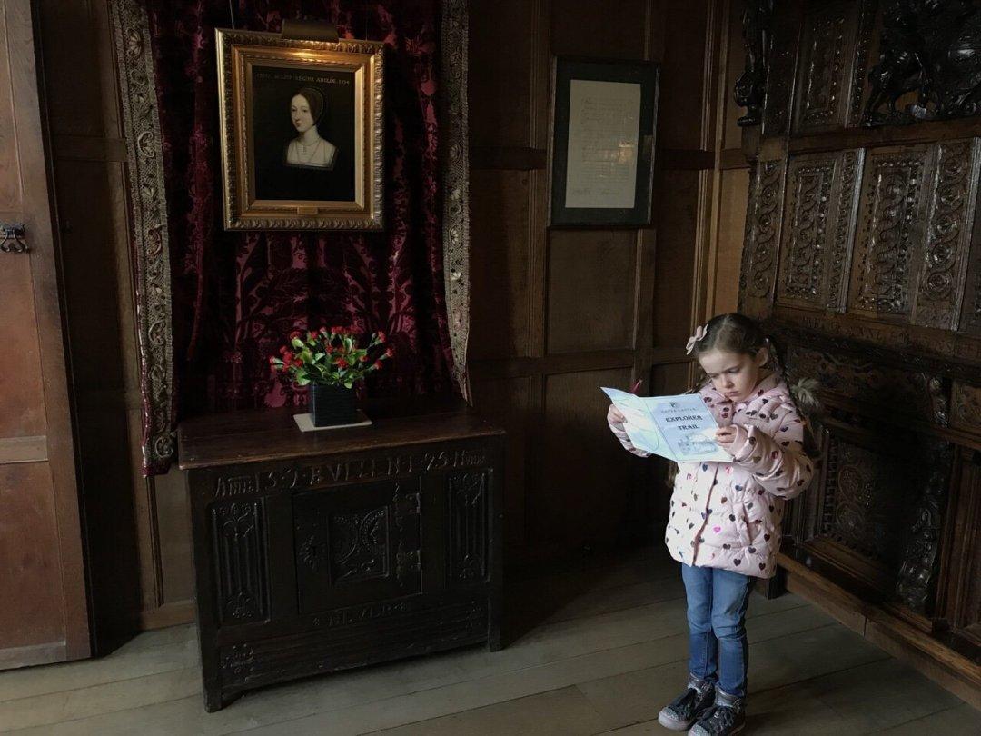 Eden doing the explorer trail at Hever Castle in Anne boleyns bedroom
