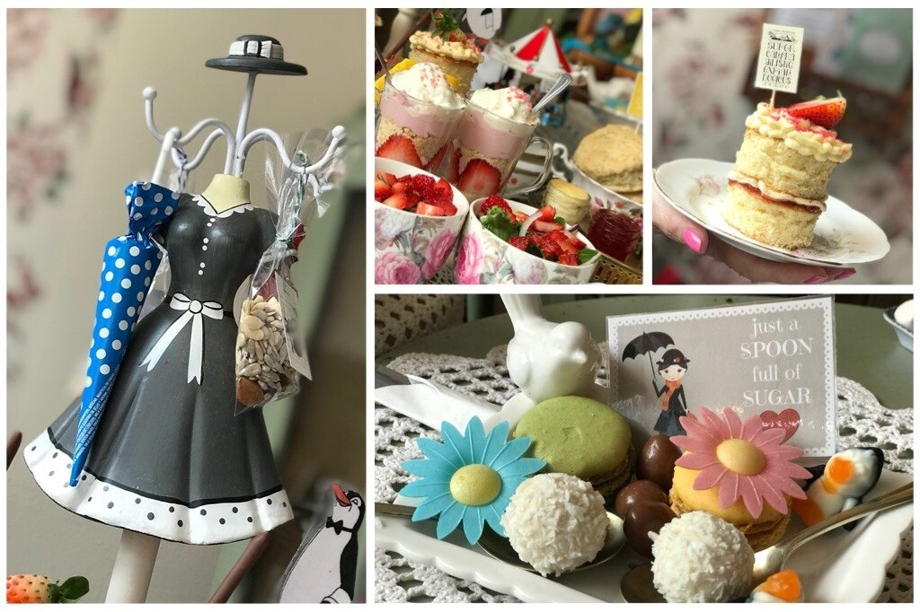 Mary Poppins Themed Afternoon Tea collage of pictures
