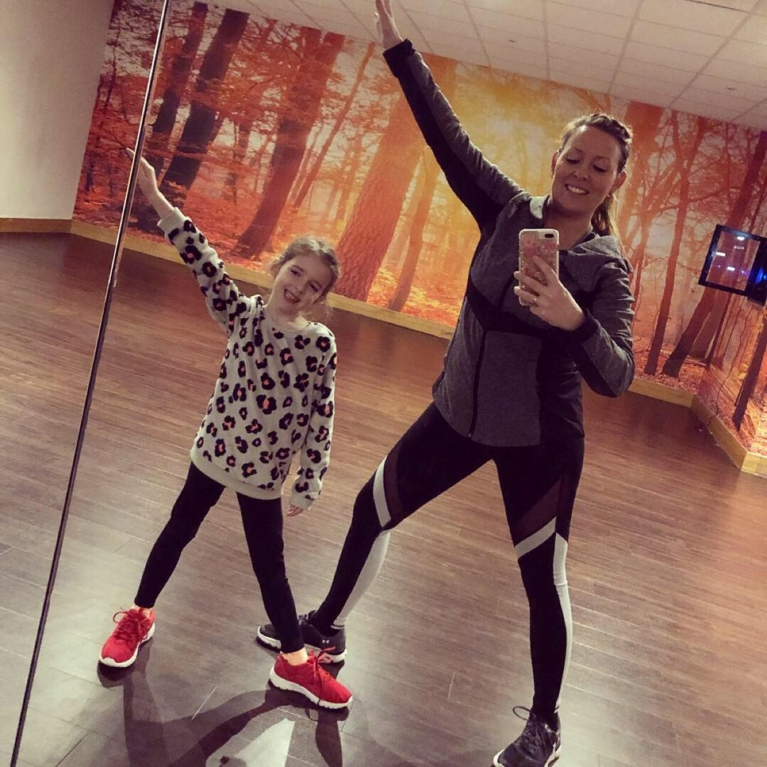 Little Miss Eden Rose and Essex Blogger Mum posing in the gym