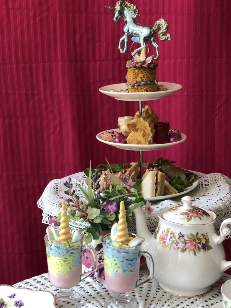 Unicorn Afternoon tea at Cardamon Tea Lounge in Colchester, Essex. Running for the month of September 2019