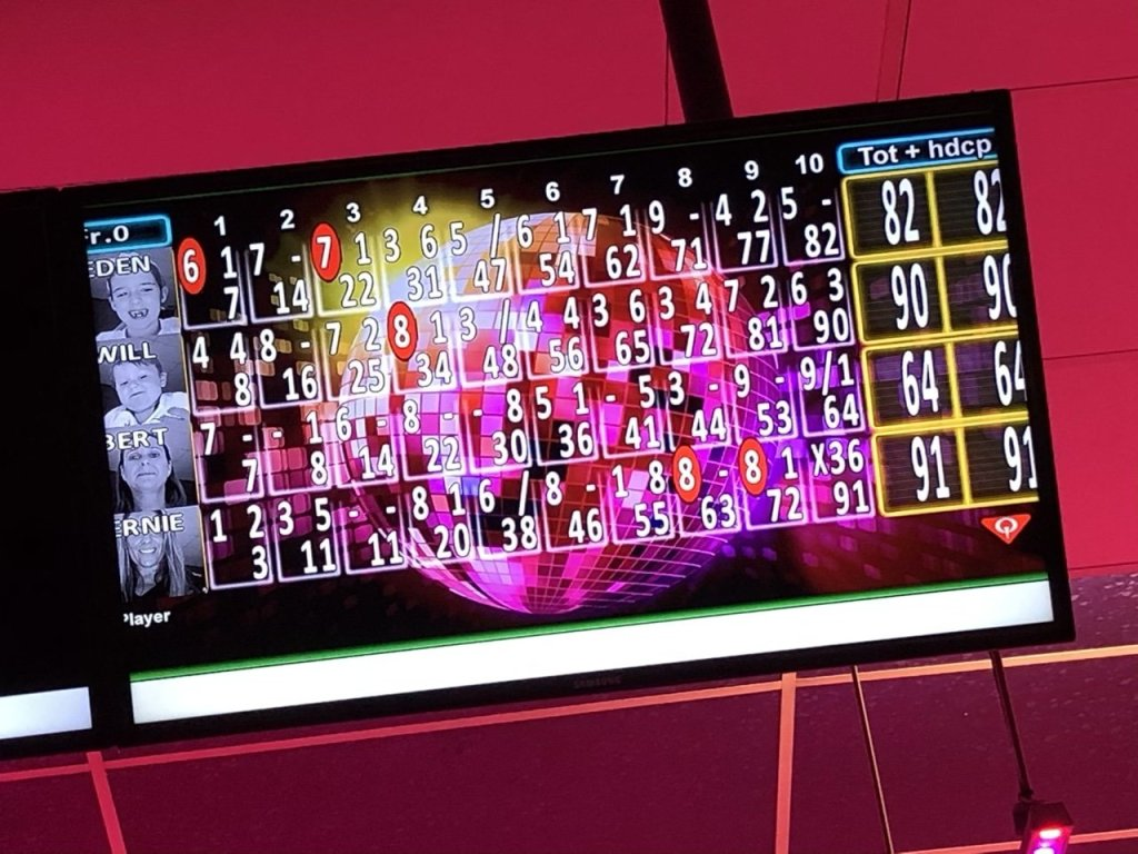 The scores from bowling at Rollerbowl