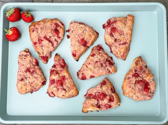 tray of baked strawberries and cream scones