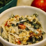 Pasta with Spinach Pesto, Corn, and Green Beans