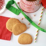 Three Butterscotch cookies with various holiday decor surrounding