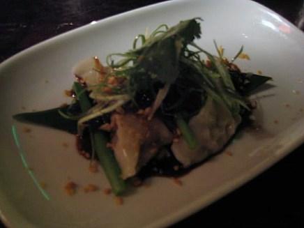 Steamed Pork and Prawn Dumpling with Garlic Chive Flowers and Black Vinegar Dressing