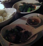 Crispy Pork Hock with Tamarind and Tamaillo Sauce and Nahm Plah Prik & Steamed Gai Lan with Ginger and Yellow Bean