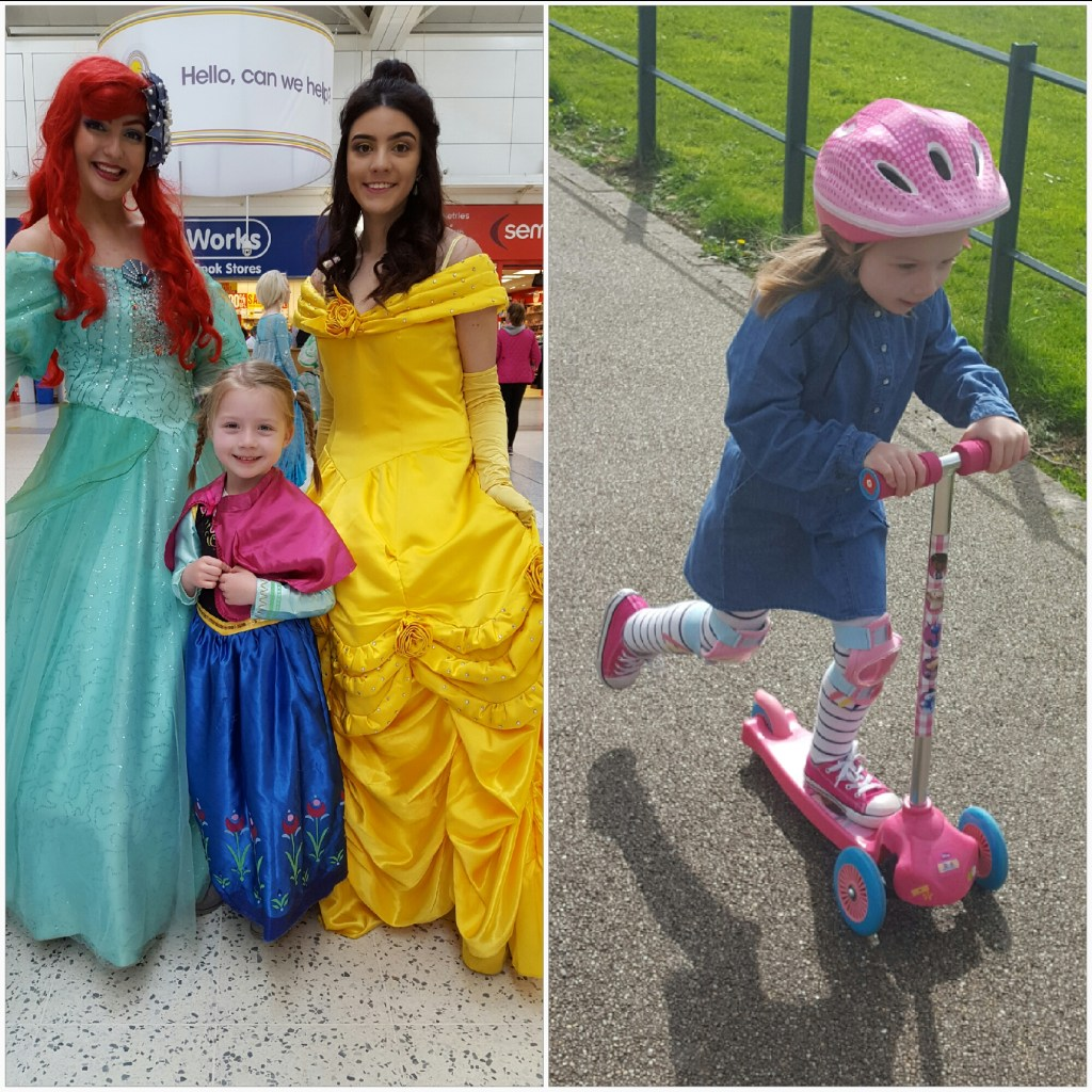 Meeting princesses and 'scootering' despite extra swelling.