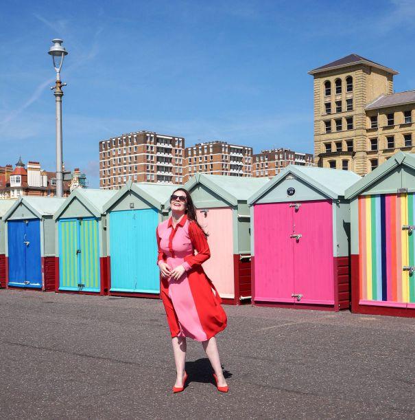 hove beach huts boden striped dress review british seaside kate winney pier