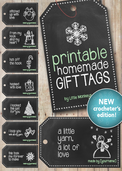 Handmade Chalkboard Christmas Gift Tags for Crocheters | Free Printable from Little Monkeys Crochet